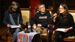 Vicky Moreno i Tània Verge a l'Acte Feminisme i Independència a l'Ateneu BCN 20 gener 2015 Foto: Mont Bòria